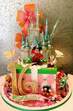 Sweet 16 Disney Theme Cake