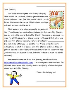 Flat Stanley letters with instructions on what the students are doing and how to help