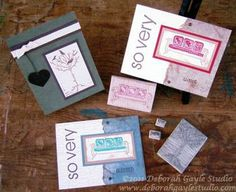 Custom designed card using hand carved stamps at www.deborahgaylestudio.com.  Stop in and request a class today!!