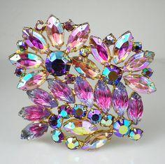Vintage Pink Violet Lavender Rhinestone Art Glass by milminedesign