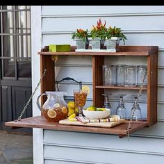 Refurbished kitchen cabinet - now an outside beverage cabinet. Sweet!