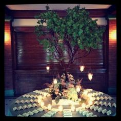 Love this tree arrangement for the escort card table!