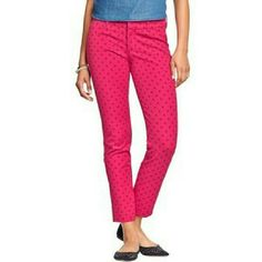 Pixie Mid-Rise Ankle Pants Super stretchy, Pink Get Print! Excellent condition! Further description in photo 3 Old Navy  Pants Ankle & Cropped