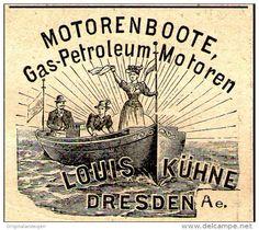 Original-Werbung/ Anzeige 1897 - MOTORENBOOTE / LOUIS KÜHNE - DRESDEN - ca. 45 x 40 mm