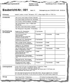 Baubericht, erstellt mit dem Bauskript Bautagebuch
