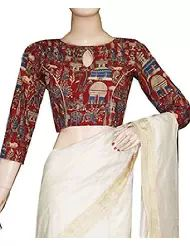 cotton saree blouse ethnic maroon kalamkari Kalamkari Blouse Designs, Saree Blouse Neck Designs, Blouse Patterns, Clothing Patterns, Cotton Saree Blouse, Sari Blouse, Saree Draping Styles, Stylish Blouse Design, Indian Designer Wear