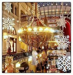 Christmas decorations. GUM, Moscow, Russia.