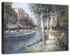 Canal Cafes by Lew Gordon Venice Mediterranean Flowers  Fine Art Canvas 36x24…