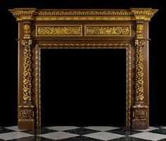 Antique Italian Renaissance Oak wooden fireplace mantel