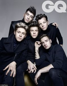 One Direction's Niall Horan, Zayn Malik, Harry Styles, Louis Tomlinson and Liam Payne pose in a recent photo shoot for GQ's September 2013 issue. via dailymail.co.uk