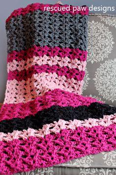 Simple Striped Crochet Blanket Pattern: The Elise