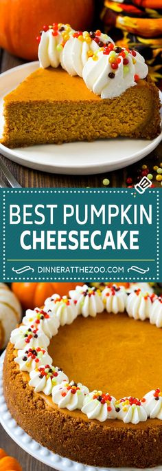 delicious pumpkin cheesecake recipe for your holiday dessert table. Pumpkin Cheesecake Recipes, Pumpkin Recipes, Fall Recipes, Holiday Recipes, Cheesecake Desserts, Chocolate Cheesecake, Raspberry Cheesecake, Healthy Recipes, Potato Recipes