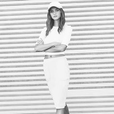 The Mondayest Tuesday Ever. 🙅  Shop the look   link in bio .  .  .  .  .  .   Rayon Lycra Crop Tee - Style #8858 Straight Skirt with Pockets #DRN05 Canvas and Suede Baseball Hat #MS16425