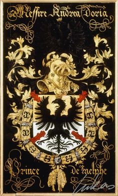 "(175) André DORIA, Ier prince de Melfi (1466-1560) -- ""Messire Andrea Doria, prince de Melphe""-- Armorial plate from the Order of the Golden Fleece, 1559, Saint Bavo Cathedral, Gent"