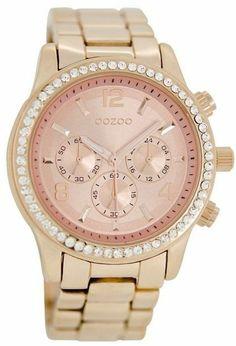 Oozoo Rosé Horloge met kristallen