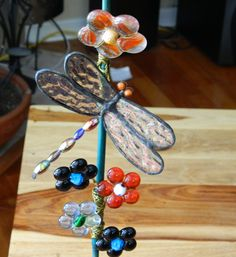 Day 26 #30doc @createstuff - one dragonfly birthday bouquet the dragonfly is stained glass and the flowers are fused glass, beads and wire wrapping