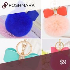 Puff keychains with bow! Adorable Fluffy puff trending keychains with a chic bow design. Great to accent any bag or key ring. Various colors, including pastels (perfect for Spring!)💕 Accessories Key & Card Holders