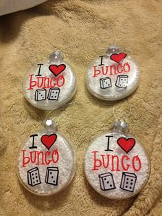 """I Love Bunco"" Christmas Ornaments"