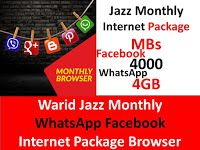 Warid Jazz Monthly Whatsapp Facebook Internet Package Browser Internet Packages Jazz Internet Packaging