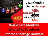 Warid Jazz Monthly Whatsapp Facebook Internet Package Browser Internet Packages Jazz Internet Packaging