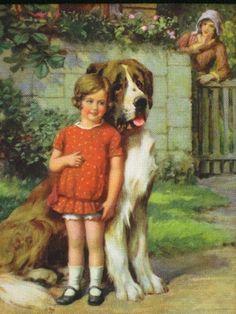 LITTLE GIRL WITH HUGE ST. BERNARD DOG 1930's ORIGINAL BLOTTER HIEBEL OR KENYON?