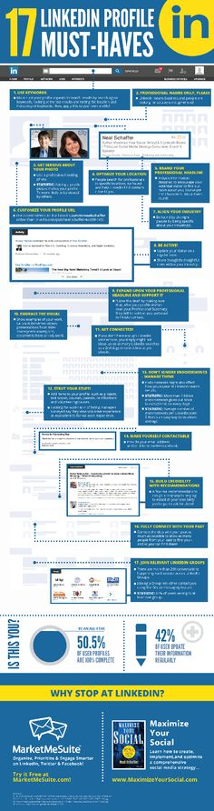 Professional LinkedIn Profile Tips: A Checklist of 17 Must-Have Items #linkedin #inforgaphic