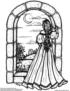 Moonview fantasy art colouring page by marylayton