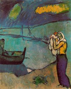 Mother and Son on the Shore -   Pablo Picasso, 1902