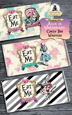 Alice in Wonderland Candy Bar Wrapper - Alice by Lythiumart on Zibbet Alice In Wonderland Clocks, Alice In Wonderland Birthday, Birthday Candy, Birthday Ideas, 21st Party, Custom Chocolate, Custom Candy, Candy Bar Wrappers, Mad Hatter Tea