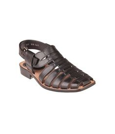 Black Genuine Leather Closed Toe Sandal with Back Strap