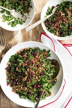 """Shredded Kale Salad with Pecan """"Parmesan"""" and Cranberries 