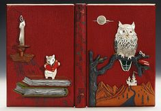 Full Moon Eyes: An Ode to the Wisdom and Forbearance of Owls. <em>Vancouver: Charles Van Sandwyk Fine Arts, 2012</em>, 9 colour plates tipped in and other illustrations, original wrappers bound in [together with:] I Believe: Two Poems and a Hidden Thought. <em>[Vancouver:] Savuti Press, 2012</em>, number 32 of 125 copies, full-page copperplate etching numbered and signed by the artist, original wrappers bound in; fine red goatskin by Timothy Wolfendale with relief scene in morocco, silver…