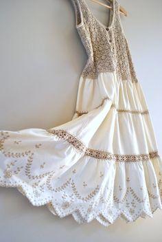 crochet dress // oats and honey crochet and cotton // vintage boho dress Crochet Fabric, Crochet Blouse, Crochet Lace, Cotton Crochet, 70s Fashion, Fashion 2020, Vintage Fashion, Vintage Style, Lovely Dresses