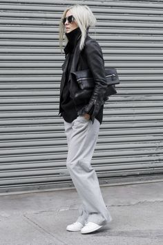 Sleek + Slouchy #StreetStyle : Aritzia sweater, pants & bag,, Mackage leather jacket, Adidas sneaker