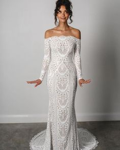 33 Lace Wedding Dresses That You Will Absolutely Love ❤ lace wedding dresses off the shoulder with sleeves boho grace_loves_lace #weddingforward #wedding #bride #weddingoutfit #bridaloutfit #weddinggown