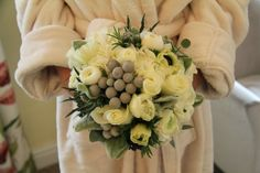 early Spring blooms; Tulips, Anemones, Ranunculas, Roses, Eucalyptus Boules, Albiflora Bruneii, Silver Eryngium, sweet scented Rosemary, silver grey Stachys and white Hydrangeas