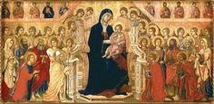 Maestà (front) Madonna and Child with Twenty Angels and Nineteen Saints (Duccio, 1308)