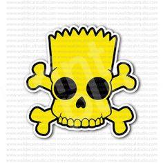 Bart Simpson Skull Crossbones Sticker for - Stickers Skulls Simpsons Tattoo, Simpsons Drawings, Simpsons Art, Bart Simpson Drawing, Native Tattoos, Simpsons Characters, Graffiti Painting, Tattoo Flash Art, Cool Stickers