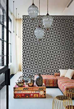 Modern architecture can be softened with ethnic patterns #globalchic #eclectic #inspiration