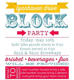 how to throw a block party  printable invitation template, invitation samples