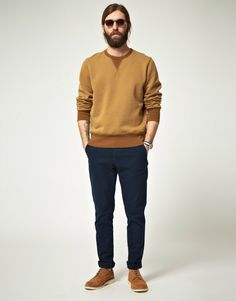Two tone sweater/ navy khakis