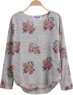 Grey Long Sleeve Florals Print Dipped Hem Knitwear 16.00