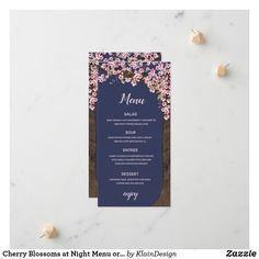 Shop Cherry Blossoms at Night Menu or Program Card created by KlainDesign. Cherry Blossom Theme, Cherry Blossoms, Wedding Menu Cards, Announcement Cards, Night Time, Pale Pink, Wedding Colors, Initials, Floral