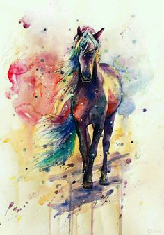 Watercolor horse painting with rainbow colored mane. Horse Drawings, Animal Drawings, Cool Drawings, Realistic Drawings, Watercolor Horse, Watercolour, Watercolor Tattoo, Unicorn Art, Wow Art