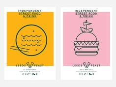 Branding and identity for event Leeds Feast. A street food festival in the city of Leeds. Designs by Lucas Jubb Food Graphic Design, Food Poster Design, Menu Design, Food Design, Food Branding, Logo Food, Creative Illustration, Food Illustrations, Leeds