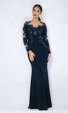 9169d6dc7e67 Full length dress in super smooth jersey is detailed with exquisite lace  which is scattered with tiny sequins over a nude mesh. The lace is  delicately ...