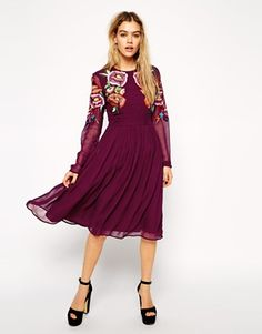 ASOS Premium Skater Dress with Large Bright Floral Embroidery