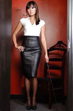 Black Leather Pencil Skirt White Blouse Sheer Black Pantyhose and Black High Heels