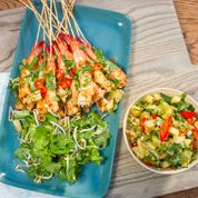 BBQ Lemongrass Chilli Prawns With Chargrilled Pineapple Salsa