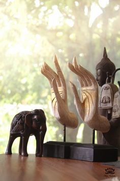 Buddha's Hand Wood Sculpture with stand. White with by SiamSawadee, $19.99
